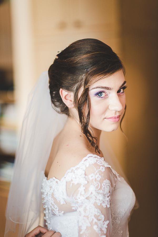 bride in lace wedding dresses